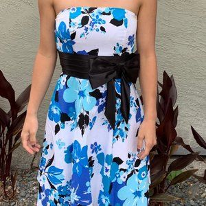 Blue and White Floral Strapless Dress, Size 0